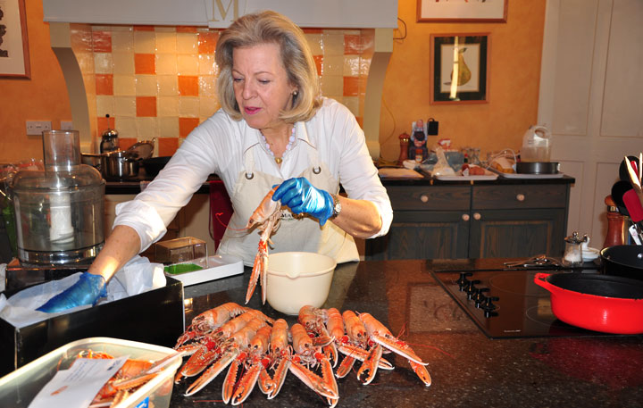 Lady Claire prepares local langoustines for her Kinloch Lodge Masterclass