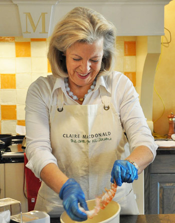 Lady Claire MacDonald preparing Scottish Langoustine at Kinloch Lodge